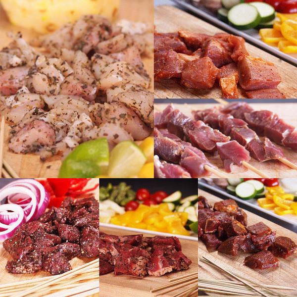 竹串付き味付け生肉キューブ6種セット