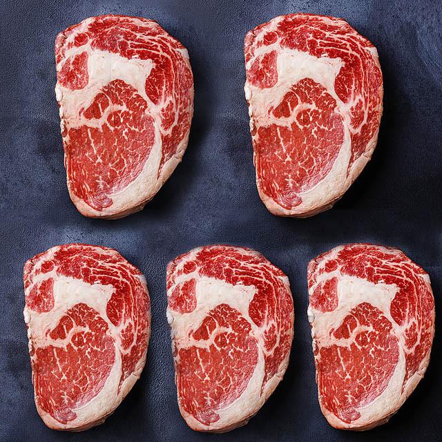 【送料無料】USDAチョイス 超特大リブアイステーキ350g×5枚セット