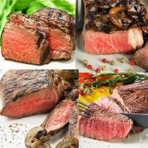 (送料無料)4種の部位別グラスフェッドビーフステーキの食べ比べセット 4枚+スパイスのおまけ付