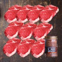 (新サイズ)【送料無料】超厚切り グラスフェッドビーフ リブロース ステーキ 270g×10枚+オリジナルステーキスパイス120g