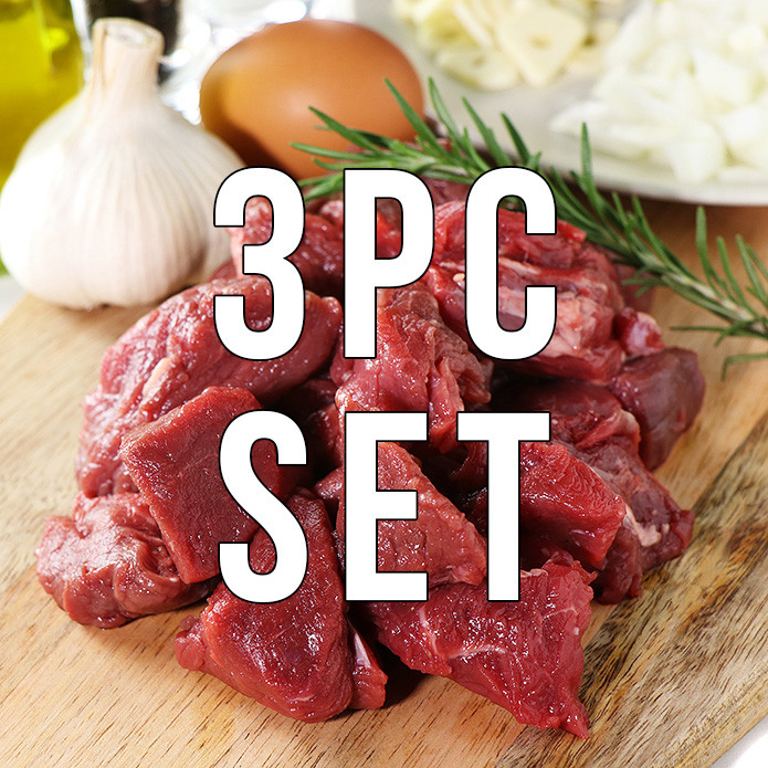 (FREE SHIPPING)100% Grass-fed Tenderloin Filet Cubes (250g) 3PC SET