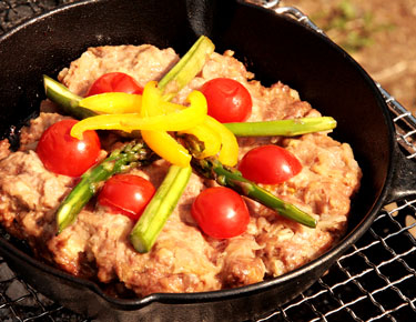 Enjoy easy camping food made with a cast-iron skillet