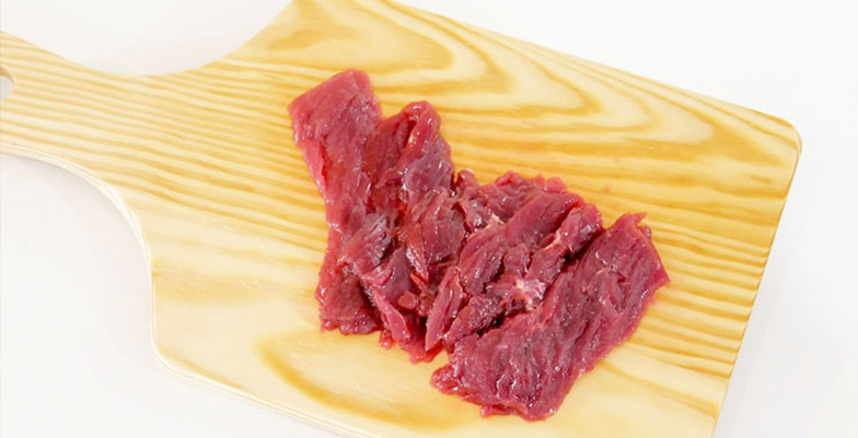 Thinned slice thigh meat
